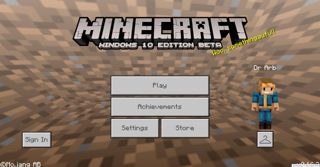 Minecraft main menu on Windows 10 edition