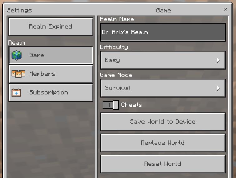 Minecraft menu om een Realm te beheren