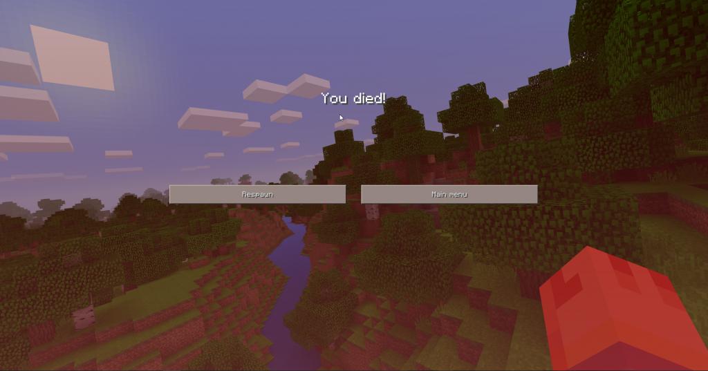 Minecraft interface als je dood gaat