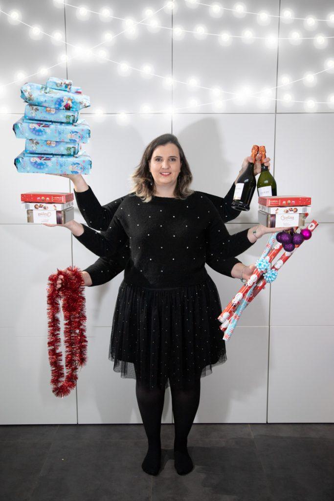 Kerststress weergegeven op een foto