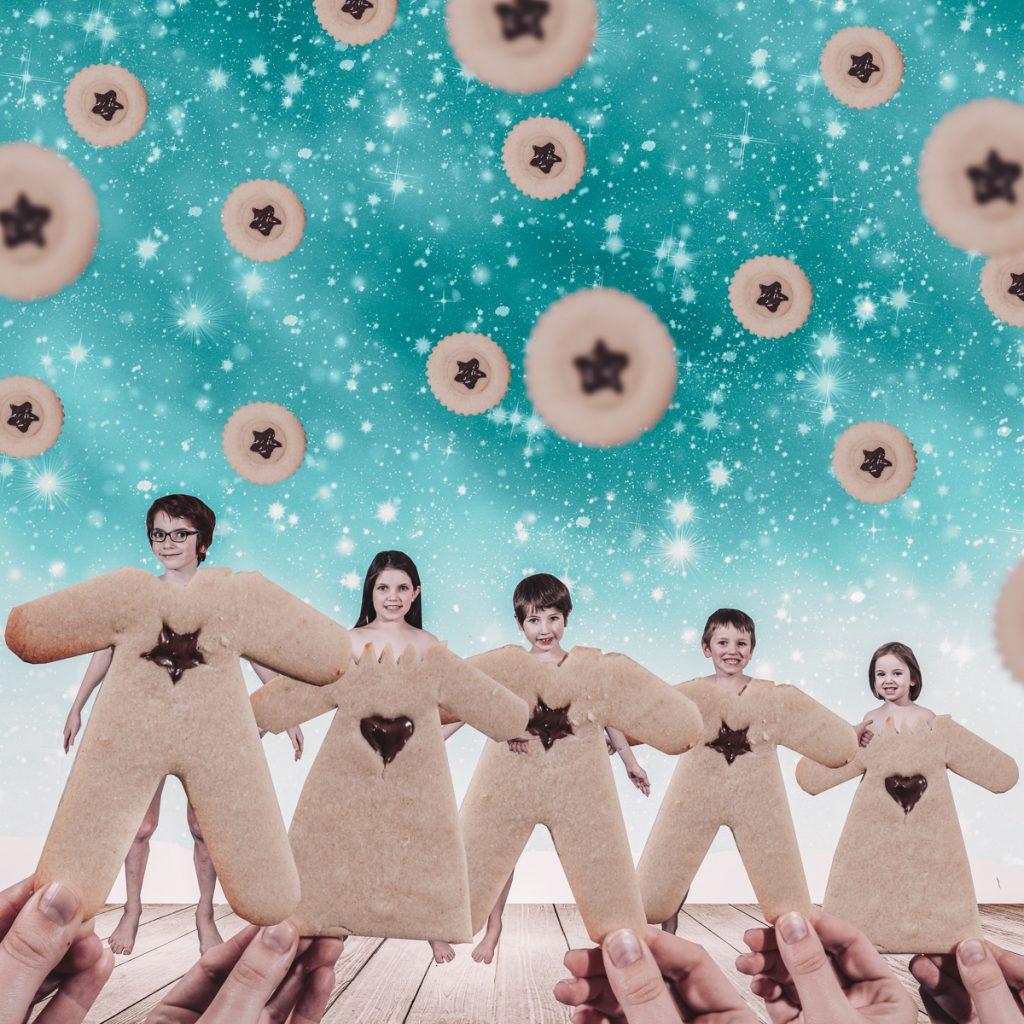 Kerstfoto met koekjes