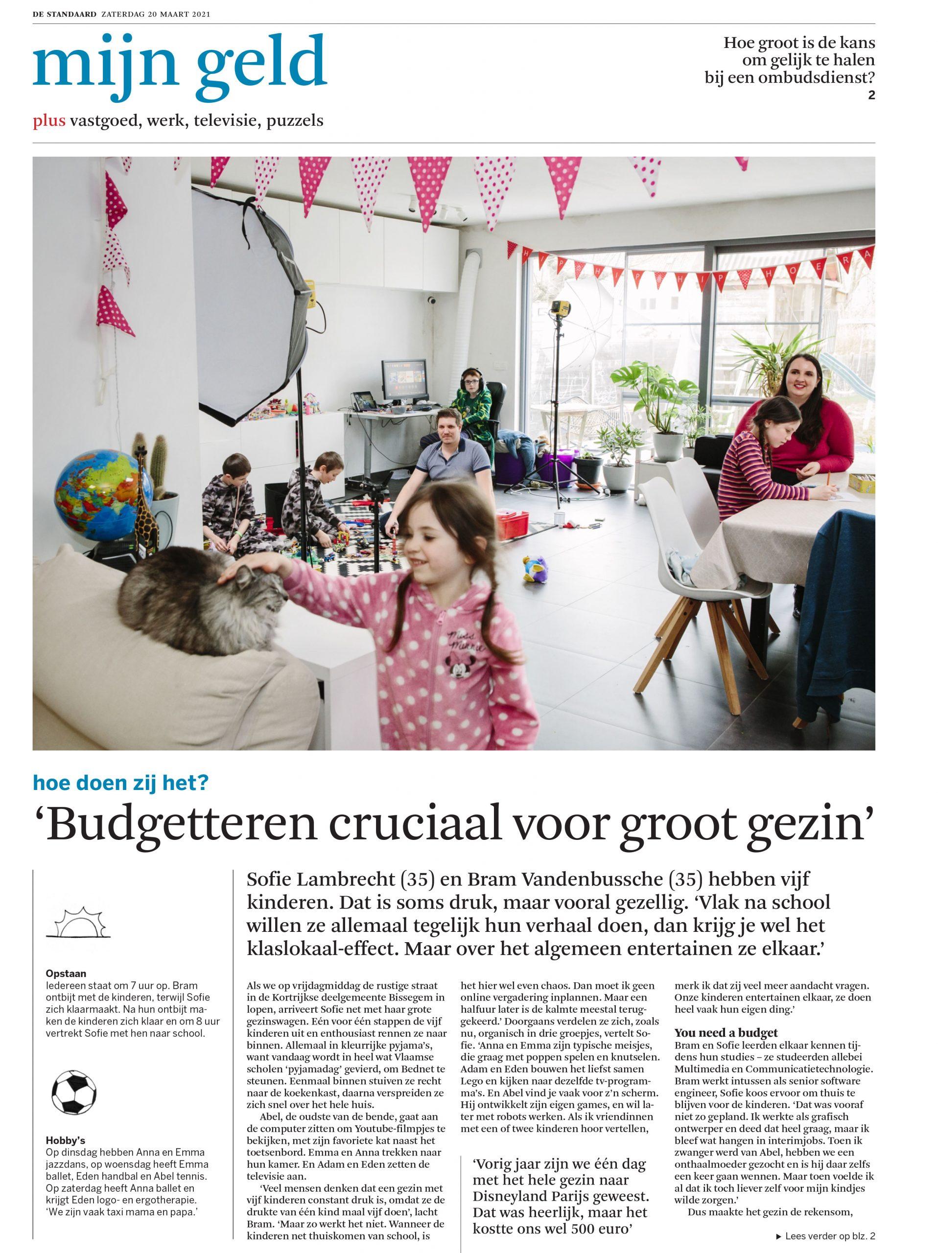 Interview Sofie Lambrecht voor De Standaard